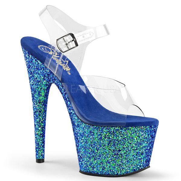 Durchsichtige Riemchen Sandalette mit blauem Glitter Plateau ADORE-708LG